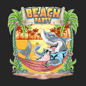 Shark in the summer beach party artwork