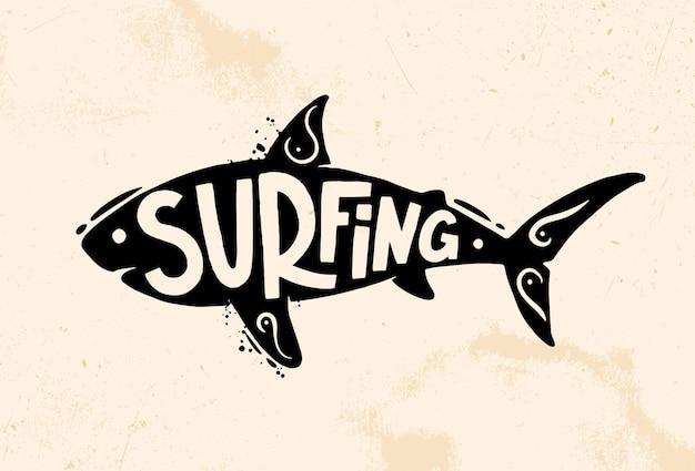 Shark surfing.  retro logo