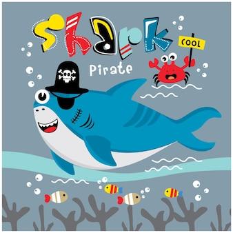 상어 해적 재미 있는 동물 만화