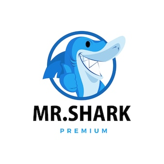 Shark thumb up mascot character logo  icon illustration