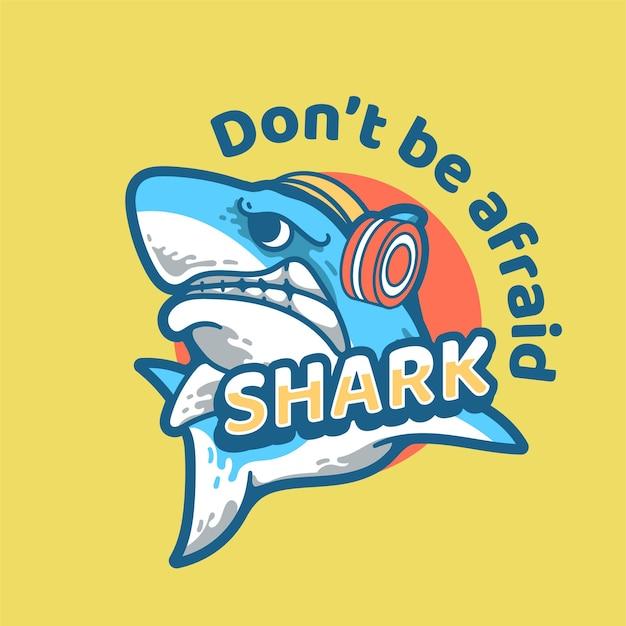 Personaggio dal design vintage moderno dell'illustrazione di squalo con auricolare