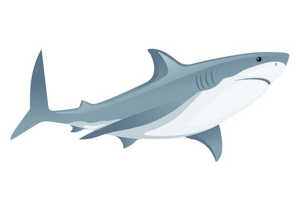 Акула с закрытым ртом гигантская вершина хищника мультяшный дизайн животных плоская векторная иллюстрация