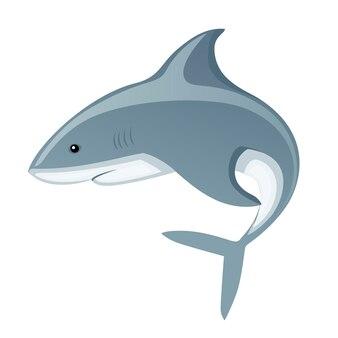 Акула с закрытым ртом гигантский хищник вершины мультфильм животных дизайн векторные иллюстрации