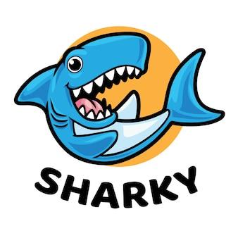 Sharky shark mascot logo