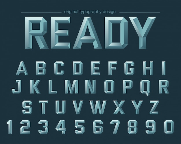 Sharp edges steel style typography design