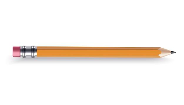 고무 지우개가 달린 날카로운 나무 연필. 컬러 만화 아이콘입니다. 흰색 배경, 벡터 일러스트 레이 션에 현실적인 격리 된 항목
