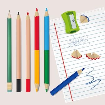 鉛筆削りと鉛筆からの木材の破片。学校やオフィスのイラスト。鉛筆削りと色鉛筆