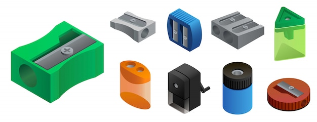 Sharpener icons set, isometric style