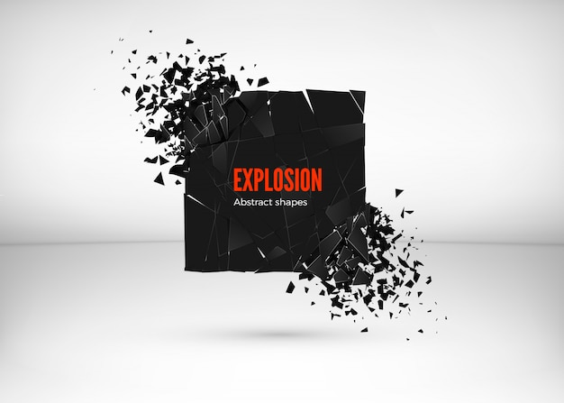 Shatter and destruction dark square effect. abstract cloud of pieces and fragments after explosion.  illustration  on gray background