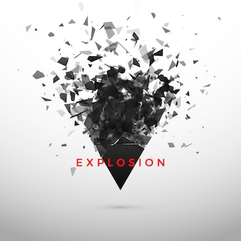 Shatter and destruction dark triangle effect. abstract cloud of pieces and fragments after explosion.  illustration  on gray background