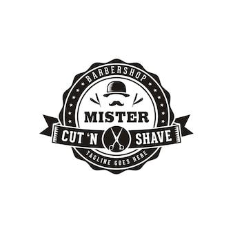 ヴィンテージレトロヒップスター理髪店ヘアサロンロゴの男性的な口ひげと山高帽で剃る