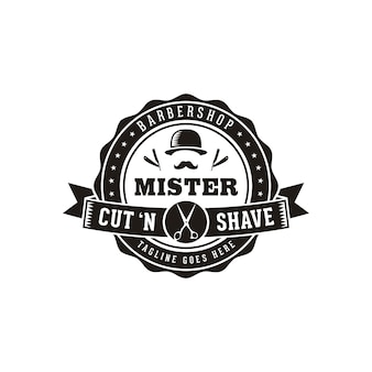 Shave with masculine mustache and bowler hat for vintage retro hipster barbershop hair salon logo