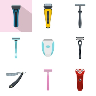 Shaver blade razor personal icons set