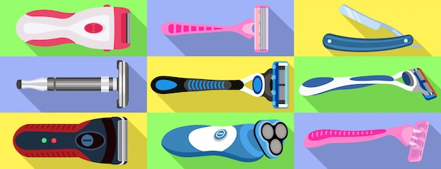 Shaver icons set. flat set of shaver vector
