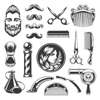 면도 및 이발 복고풍 용품 라벨. 오래된 가위와 골동품 면도기로 세련된 빈티지 남성과 여성의 얼굴. 곱슬 헤어 드라이어는 휴대용 헤어 클리퍼로 거울을 빗질합니다.