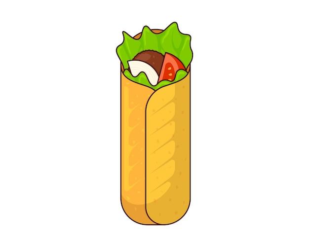 Shawarma fast food meat roll arabic eastern toasty doner kebab meal cartoon shaurma or burrito flat Premium Vector
