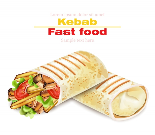 Shawarma kebab fast food illustration