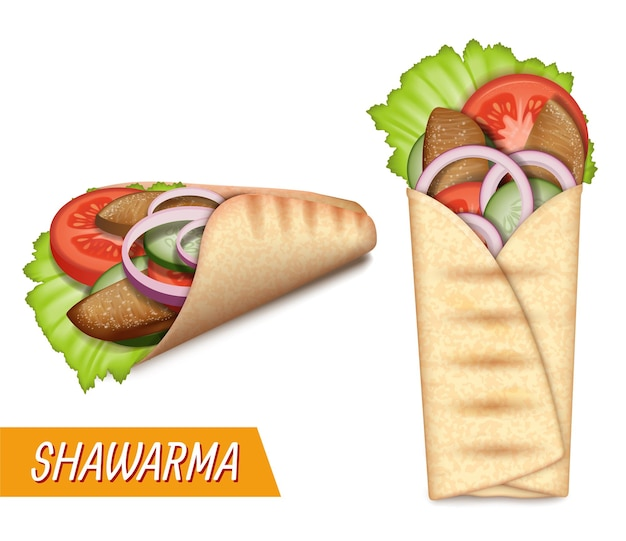 Shawarma set turkish takeaway fast food realistic pita bread roll with chicken beef meat salad