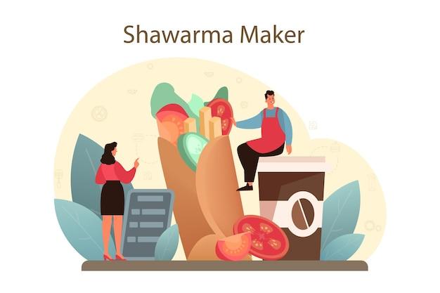 シャワルマの屋台の食べ物のコンセプト。肉、サラダ、トマトで美味しいロール料理を作るシェフ。ケバブファーストフードカフェ。