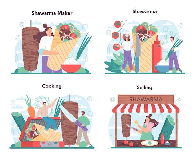 シャワルマ屋台のコンセプトセット。肉、サラダ、トマトで美味しいロール料理を作るシェフ。ケバブファーストフードカフェ。漫画スタイルのベクトル図