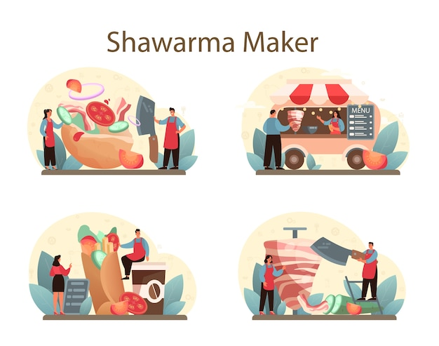 Shawarma street food concept set.