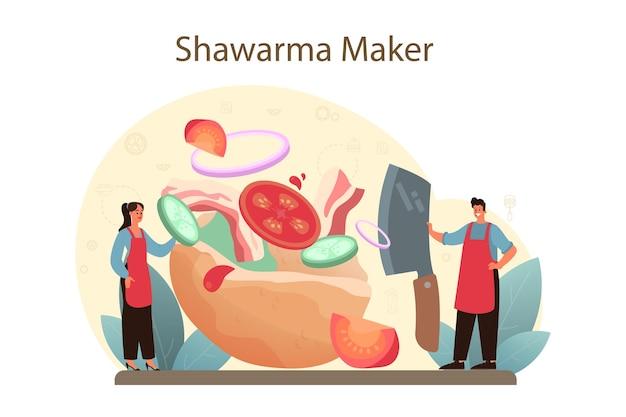 シャワルマの屋台の食べ物のコンセプト