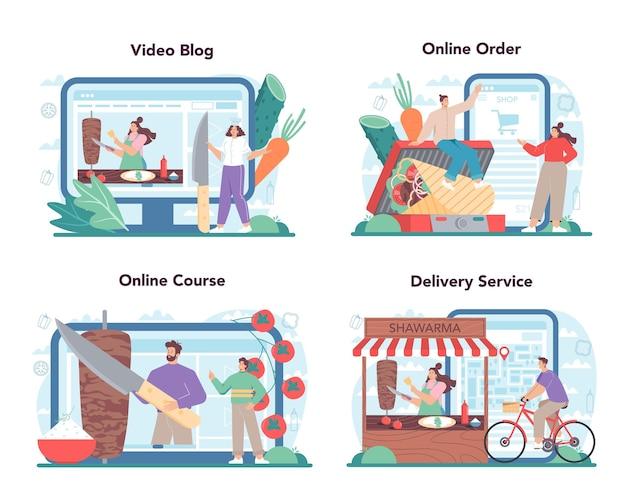 Shawarma street food online service or platform set chef cooking delicious