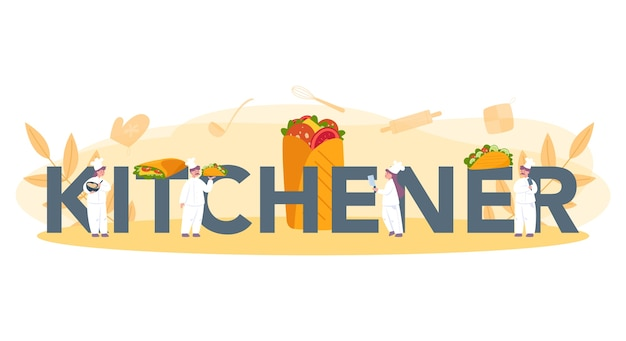 シャワルマの屋台の食べ物の活版印刷のヘッダーの概念。肉、サラダ、トマトで美味しいロール料理を作るシェフ。ケバブファーストフードカフェ。