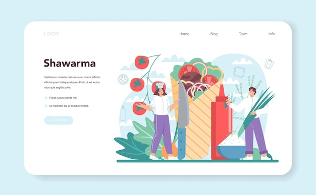 Shawarma street food web banner or landing page. chef cooking delicious roll with meat, salad and tomato. kebab fast food cafe. vector illustration in cartoon style