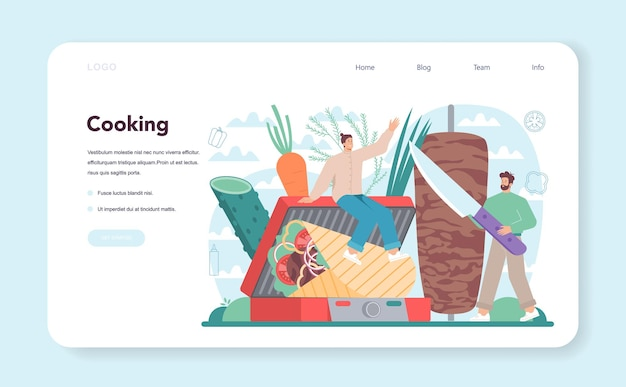 Shawarma street food web banner or landing page chef cooking delicious