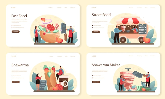 Shawarma street food web banner or landing page set