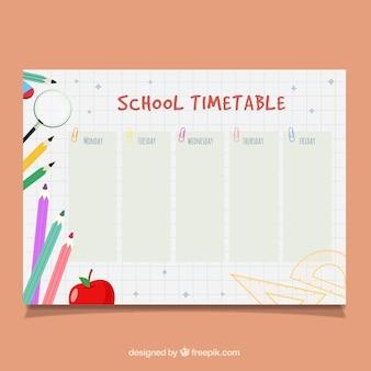연필, 사과, 루페가있는 shcool 시간표