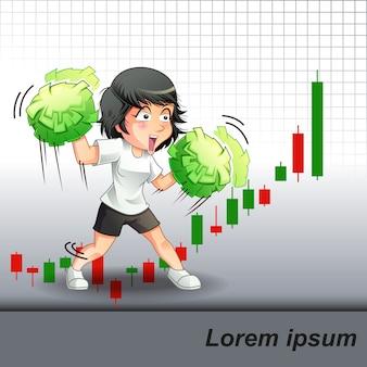 彼女は株の成長を奨励した。