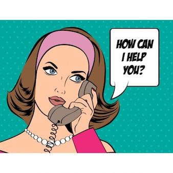彼女は、電話での会話を持っています
