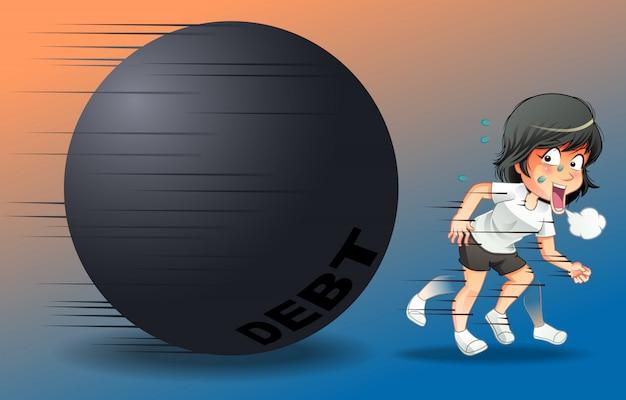 彼女は借金を免れるために走っている。