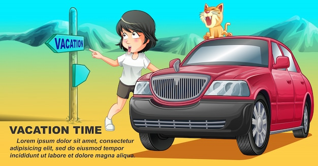 She is traveling with her cat by pink car in vacation time.
