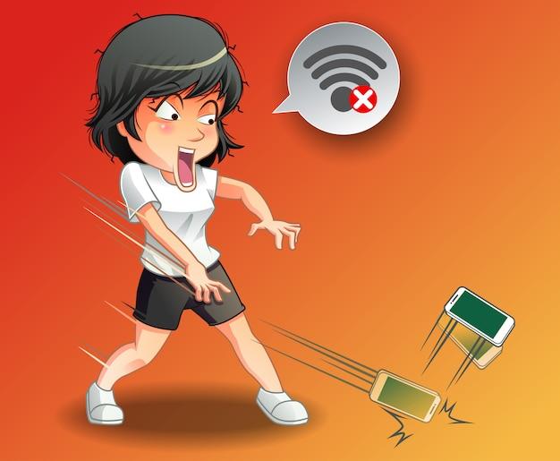 Она бросила телефон, потому что wi-fi отключен.