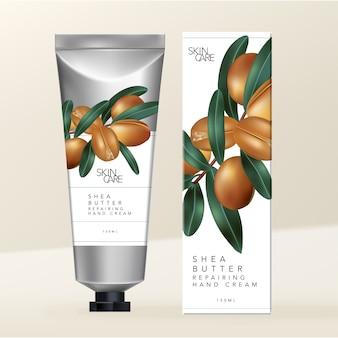 Shea butter hand cream silver metallic tube with shea butter carton box packaging.