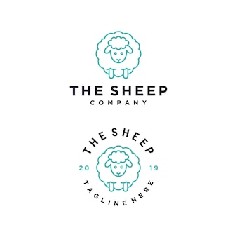 The sheep cartoon character vector logo design template