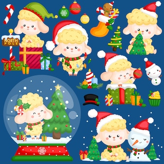 Sheep christmas vector set