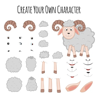Sheep creation kit of cute cartoon sheep character  illustration. create your own bam face - vector. diy