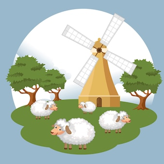 Sheep in the farm scene