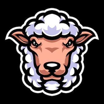 Sheep head mascot logo template