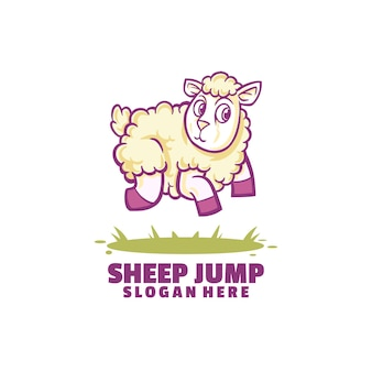 Sheep jump logo isolated on white
