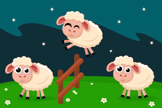 Овцы перепрыгивают через забор, считая перед сном.