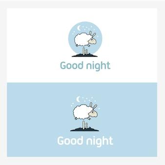 羊は垣根を越えて飛び降りる。ロゴ要素の概念。