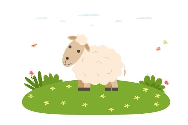 양. 애완 동물, 국내 및 농장 동물. 양이 잔디밭을 걷고 있습니다. 만화 평면 스타일의 벡터 일러스트 레이 션.