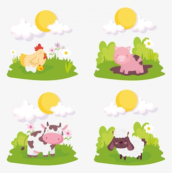 Sheep pig cow chicken chicks clouds sun farm animals