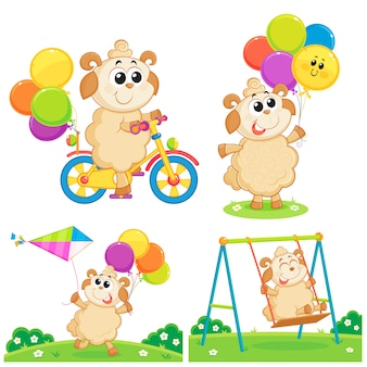 A sheep playing with balloons,  bicycle,  kite and swing,  eid al adha  greeting card