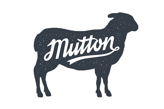 Sheep silhouette with lettering text typography mutton